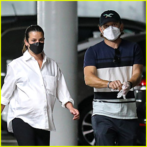 Pregnant Lea Michele Goes for a Checkup with Husband Zandy Reich