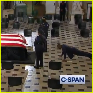 Ruth Bader Ginsburg's Personal Trainer Bryant Johnson Does Push-Ups at Her Casket