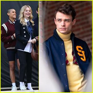 Thomas Doherty Rocks Letterman Jacket On 'Gossip Girl' Set Before Thanksgiving Break
