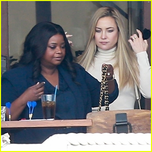 Kate Hudson & Octavia Spencer Film 'Truth Be Told' Season Two at a Restaurant in Marina Del Rey