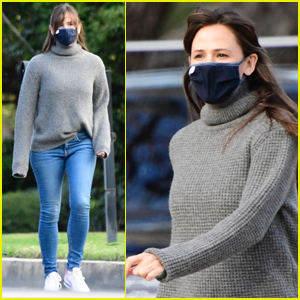 Jennifer Garner Stays Warm in Gray Turtleneck While Out with a Friend