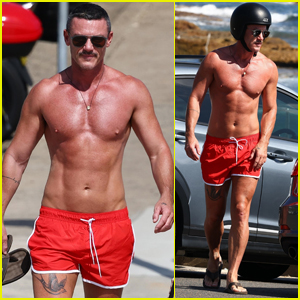 Luke Evans Shows Off New Leg Tattoo in Tiny Bathing Suit During Trip to the Beach!