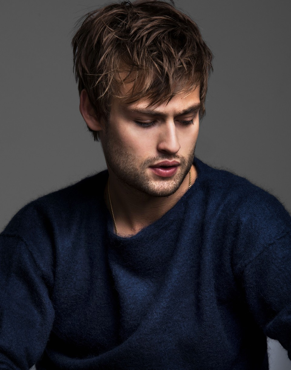 Douglas Booth in color wearing a fuzzy sweater