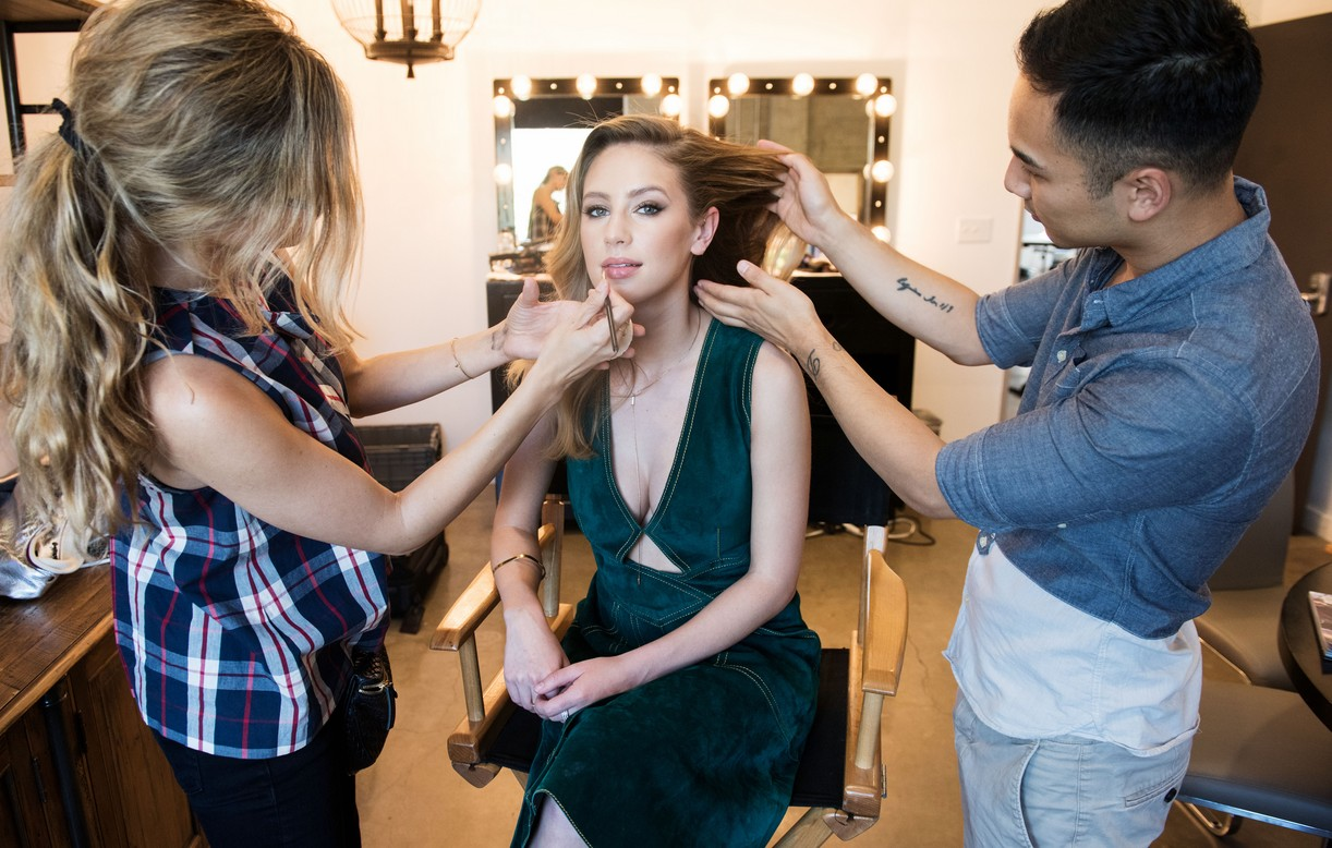Dylan Penn Behind the Scenes getting work from hair and makeup